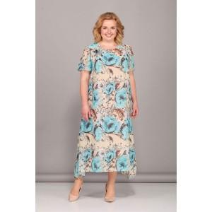 Bonna image 418 Платье (бежевый с голубыми цветами)