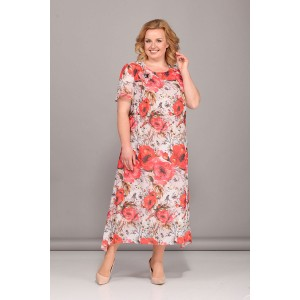 Bonna image 418 Платье (бежевый с красными цветами)