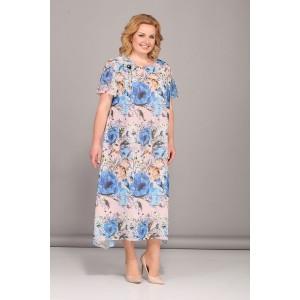 Bonna image 418 Платье (бежевый с синими цветами)