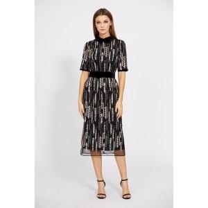 EOLA STYLE 1760 Платье (вышивка серый/персик)