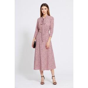 EOLA STYLE 1829 Платье (темно-розовый в черный горох)