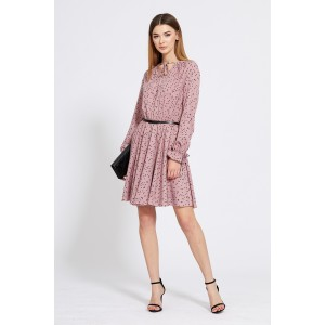 EOLA STYLE 1832 Платье (темно-розовый в черный горох)