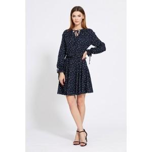 EOLA STYLE 1832 Платье (темно-синий в белый горох)