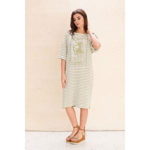 Faufilure С1075 Платье (полоска олива)