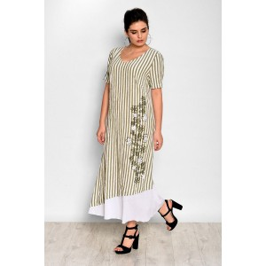 Faufilure С406 Платье (полоска оливковая)