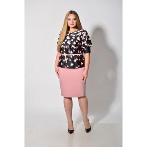 Karina Delux 283 Костюм юбочный (розово-чёрный)