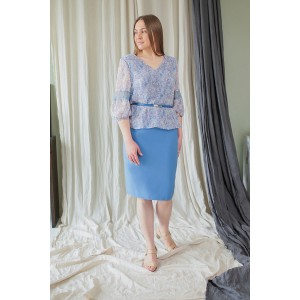 Karina Delux 419 Костюм юбочный (голубой)