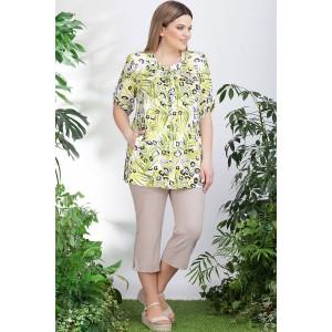 LENATA 11006 Блузка (зеленые листья на молочном)