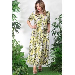 LENATA 11025 Платье (листья на молочном)