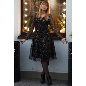 LENATA 11077 Платье (черный с блестящими горошками)