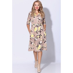 LENATA 11080 Платье (розы на темно-бежевом)