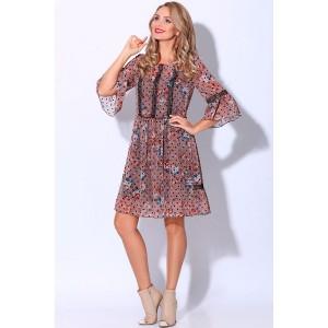 LENATA 11081 Платье (розовый с черным горошком)