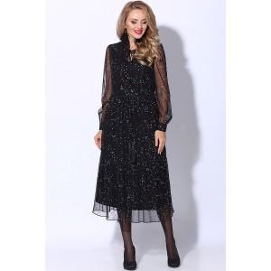 LENATA 11082 Платье (черный в серебристый и золотистый горошек)