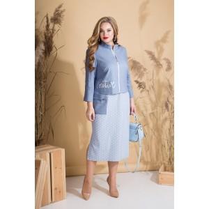 LILIANA 794 Платье с жакетом (голубой + небесный)