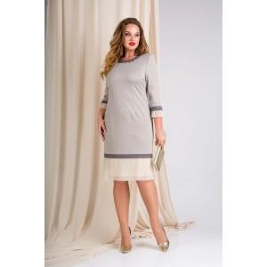 LILIANA 890 Платье (экрю + серый)