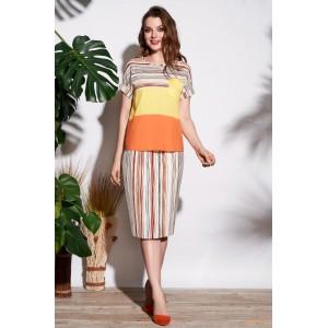 LISSANA 3698 Костюм юбочный (желтый + оранжевый)