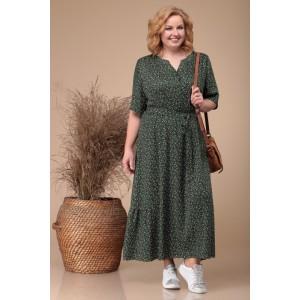 Linia-L b-1728 Платье оттенки (тёмно-зелёный / цветы)