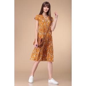 Linia-L b-1734 Платье оттенки (оранжевого/цветы)