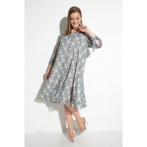 MICHEL-CHIC 2049 Платье (бежевое в голубой принт)