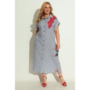 MICHEL-CHIC 993 Платье (синяя полоска-красное кружево)