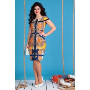 MODA-URS 2129 Платье (бирюза + желтый)