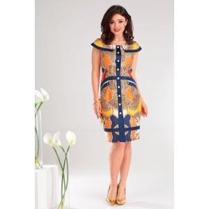 MODA-URS 2129 Платье (синий + оранж)
