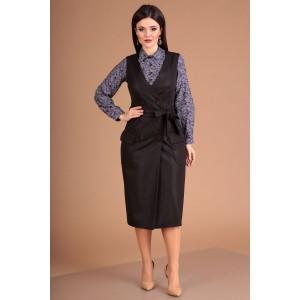 MODA-URS 2304 Сарафан с блузкой (коричневый + сирень круги)