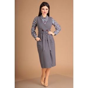 MODA-URS 2304 Сарафан с блузкой (серый + цветы)