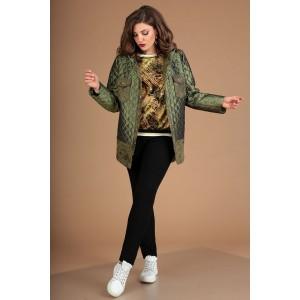MODA-URS 2381 Куртка (зеленый + отделка замш)