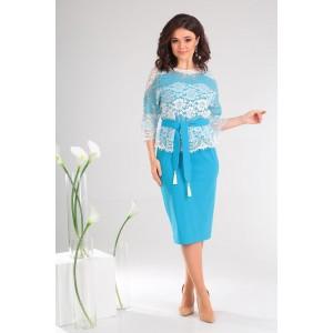 MODA-URS 2453 Платье с блузкой (темная бирюза с белым)