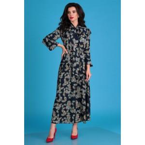 MODA-URS 2507 Платье (темно-синий+ цветы)