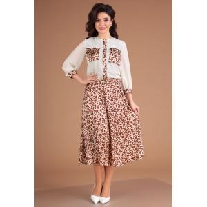 MODA-URS 2553 Платье  с блузкой (молочный леопард)