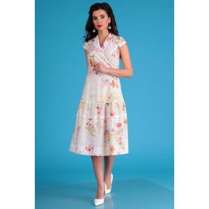 MODA-URS 2555 Платье (молочный + цветы)