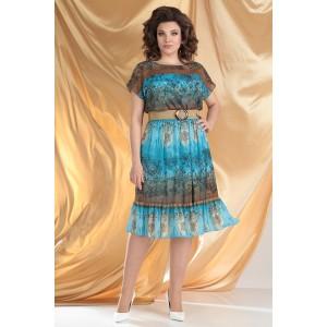 MODA-URS 2557 Платье (бирюза + коричневый)