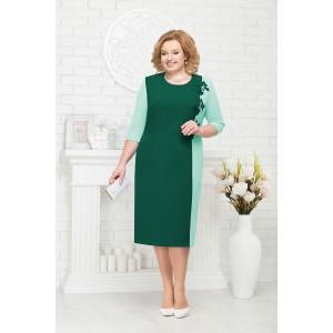 NINELE 2194 Платье (изумруд/светло-зеленый)