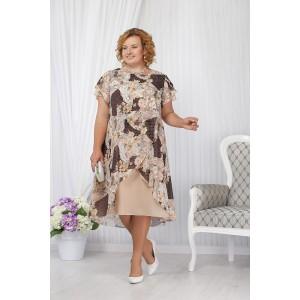 NINELE 5632 Платье (пудра/цветы)