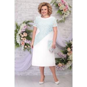 NINELE 5810 Платье (молоко-светло-зелёный)