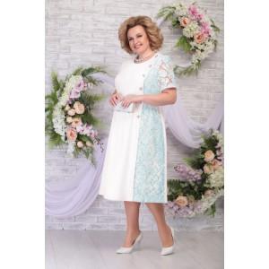 NINELE 7285 Платье (молоко-светло-зелёный)