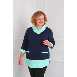 ORHIDEYA LUX 885 Блуза (темно-синий/голубой)
