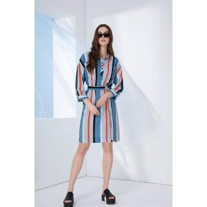 PRESTIGEMODA 3702 Платье (голубой-оранжевый)