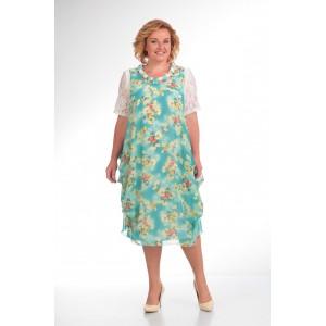 PRETTY 435 Платье бирюзовые-тона