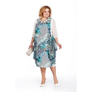 PRETTY 435 Платье (бирюза/белый)