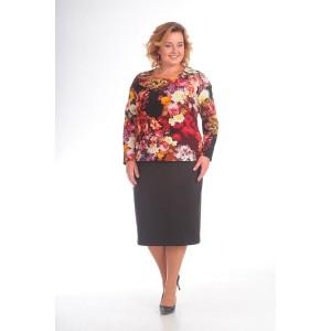 PRETTY 771 Комплект юбочный (коричневый/цветы)