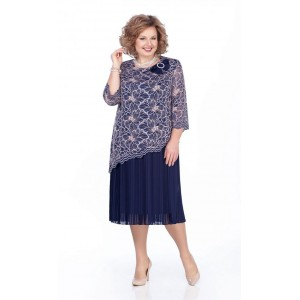 PRETTY 987 Платье (темно-синий/белый)