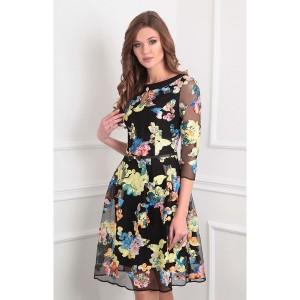 SANDYNA 13351 Платье черный+цветы