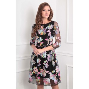 SANDYNA 13351 Платье черный+розовые цветы