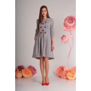 SANDYNA 13545-8  Платье (серо-розовая клетка)