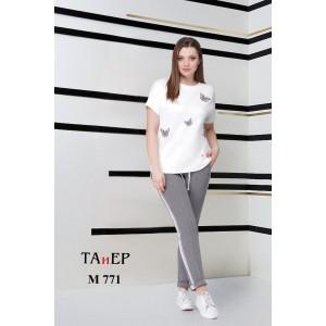 TAIER 771 Костюм брючный (слоновая кость+серый меланж)