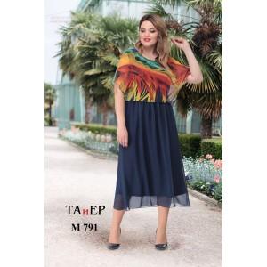 TAIER 791 Платье (синий цвет южной ночи + яркий мультипринт)
