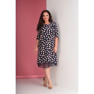 TENSI 265-1 Платье (синий+пудра)